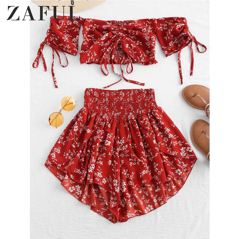 ZAFUL Off Shoulder Cinched Floral Women Set Summer Slash Neck Short Sleeves Crop Top High Waist Shorts Set Beach Boho Suits