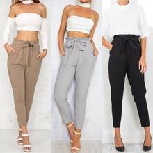 Fashion High Waist Harem Pants Women Casual Elastic Office L