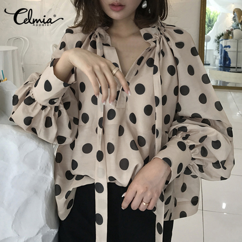 Celmia Vintage Blouse Women Lantern Sleeve Casual Polka Dot Shirt Plus Size Stylish Top Tunic Fashion Stand Collar Bow Tie Blusa
