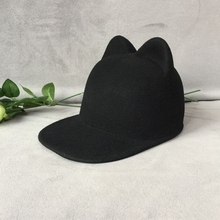 Wool bear ear black metal logo baseball cap felt equestrian cap wide brim Men and women Jamie hat