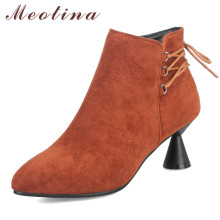Meotina Winter Ankle Boots Women Zipper Kitten High Heels Short Boots Lace Up Pointed Toe Shoes Ladies Red Autumn Big Size 33-43 недорого