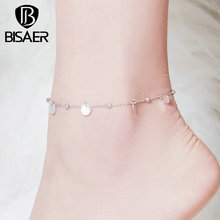 Anklets Sterling-Silver BISAER Jewelry Coin-Chain Women Round for Lobster Clasp ECT011