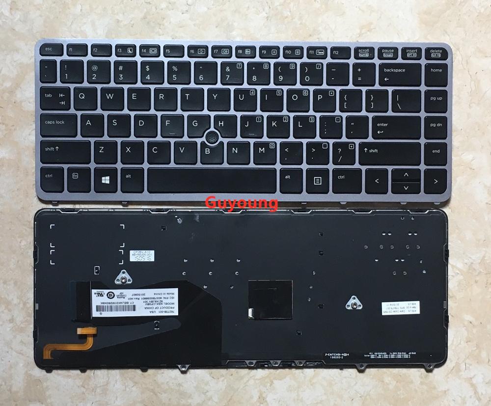 95% новая английская клавиатура для ноутбука HP EliteBook 840 G1 850 G1 840 G2 850 G2 серии раскладка клавиатуры США с подсветкой с джойстик