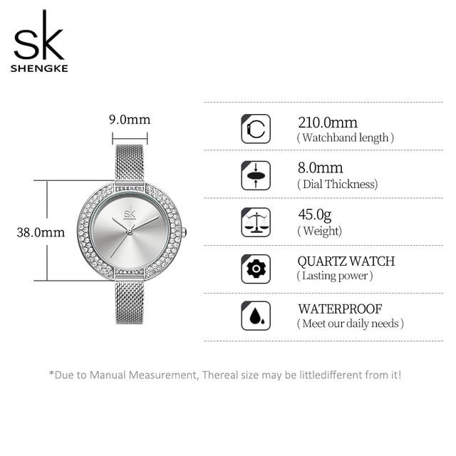 Shengke Luxury women watches silver slim watchband 38 mm Big Dial ladies watch Japanese Quartz reloj mujer zegarek damski