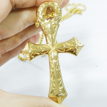 Men Chain Christian Jewelry Gifts Vintage Cross Crucifix Jesus Piece Pendant & Necklace Gold Color Stainless Steel