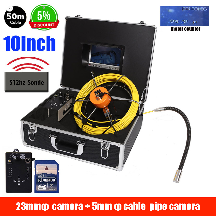 30M Cable Pipe Inspection Camera 512hz Sonde Locator With 10inch Monitor Snake Video Inspection Camera DVR Recording Whole Set