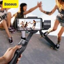 Baseus 3 Axis kablosuz Bluetooth el Gimbal telefon sabitleyici iPhone Huawei Tripod Gimbal sabitleyici Gimal Smartphone