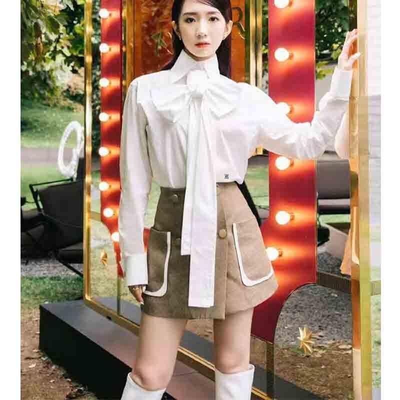 Cosmicchic 2019 femmes nœud Blouse à manches longues or boutons de manchette blanc coton chemise piste Designer bureau Blouse Slim décontracté hauts - 3
