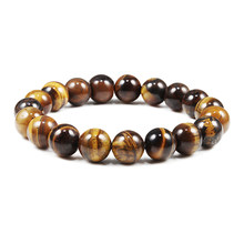 Trendy Natural Stone Beads Tiger Eye Bracelet Handmade Stretch Men Buddha Braclet for Yoga Meditation Jewelry Homme 6mm 8mm 10mm(China)