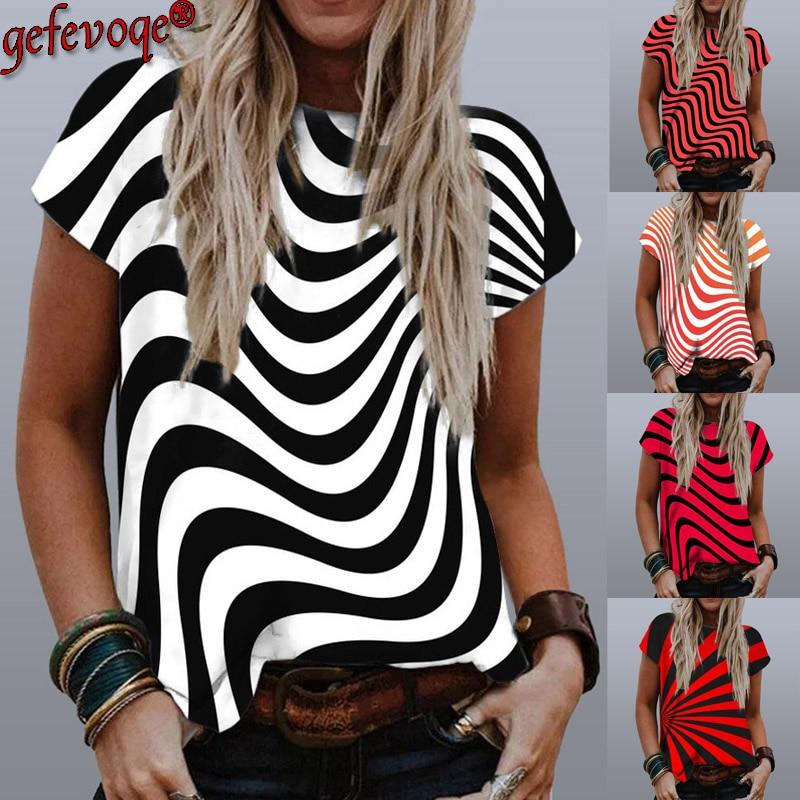 Stripe Graphic Print T Shirt Women 2021 Summer Round Neck Short Sleeve...