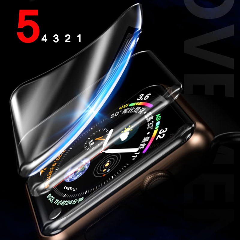 Screen Protector Film For Apple Watch 5 4 44mm 40mm Iwatch Band TPU 9D Anti-Shock Waterproof Full Coverage Protective Film