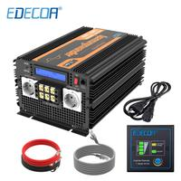 EDECOA UPS charger power inverter 3500W 7000W DC 12V AC 220V 230V 240V pure sine wave with remote controller and LCD display