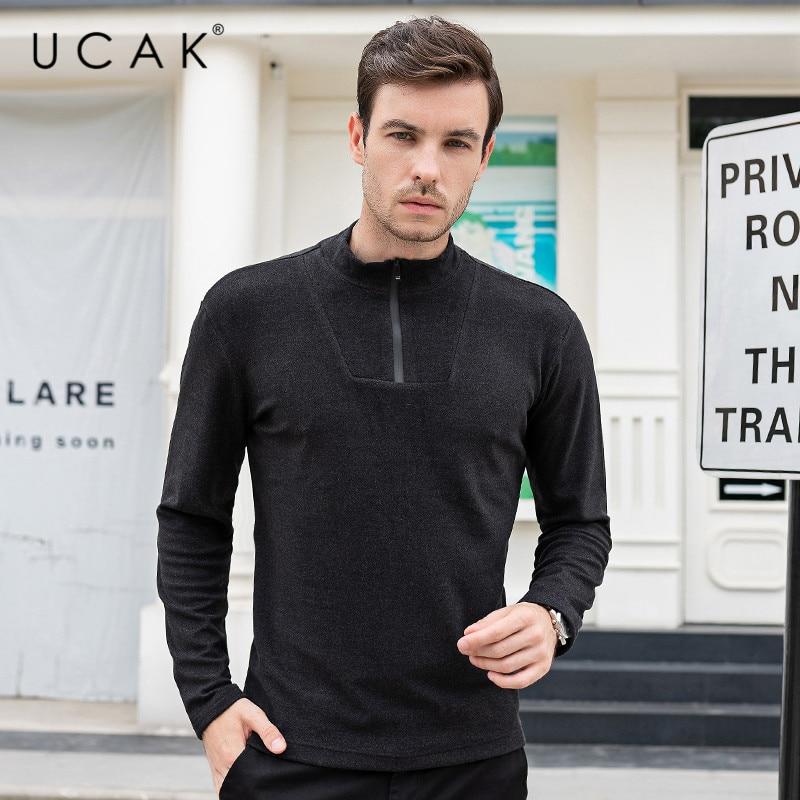UCAK Brand Thin Sweaters Men O-Neck Solid Decorating Casual 2020 NEW Fashion Style Streetwear Spring Autumn Men Sweater U1058