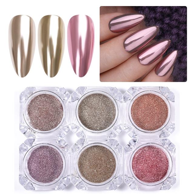 1 Box 0.3g Nail Mirror Glitter Powder Dust Gold Champagne Silver Rose Gold Metal Effect Metallic Effect Nail Art Dust Decoration 5