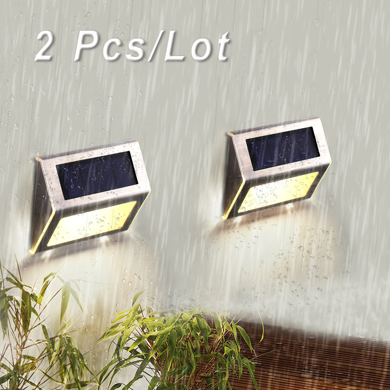 2pcs stainless steel waterproof  garden stair path light led solar step lights night lighting solar powered wall lamp footlight