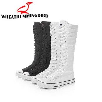 Plus szie 35-43 2019 zapatos de lona de moda para mujer botas altas rodilla zapatos planos informales altos Punk MA-68
