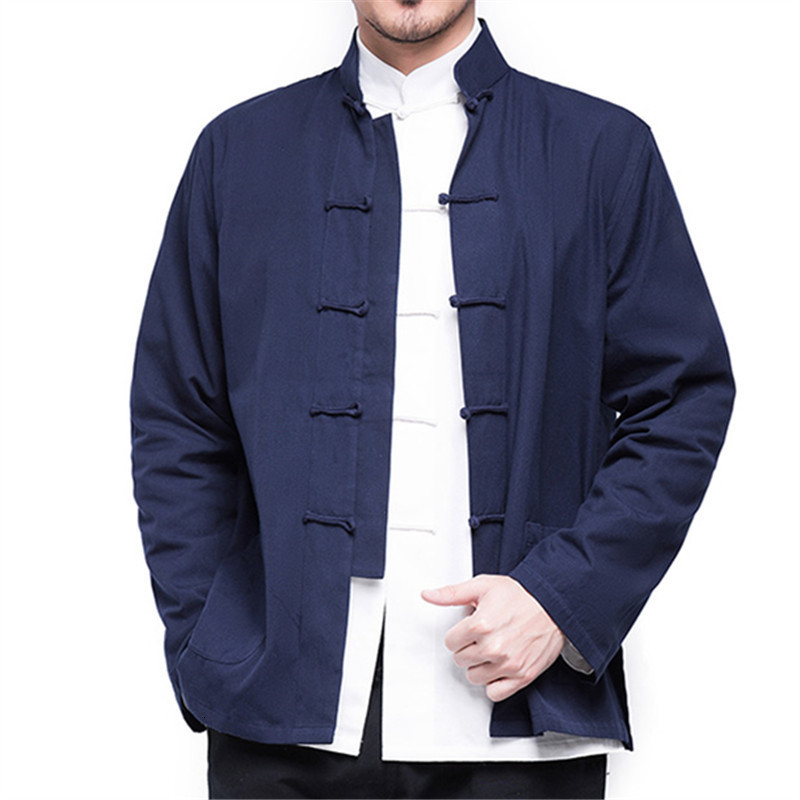 Hf673e537a8d542c29b94e3c8be9cb5e6b 2019 Autumn New Men's Chinese Style Cotton Linen Coat Loose Kimono Cardigan Men Solid Color Linen Outerwear Jacket Coats M-5XL
