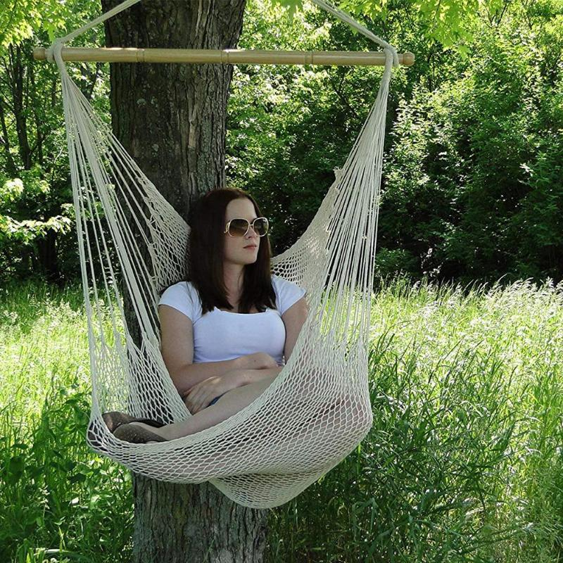 Large Cotton Rope Hammock Chair Portable Hanging Chair Indoor Outdoor Use