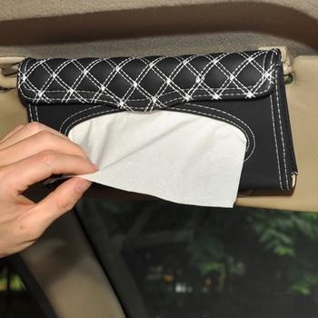 1 Pcs Car Tissue Box Towel Sets Car Sun Visor Tissue Box Holder Auto Interior Storage Decoration for BMW Car Accessories - White Line 1 Pcs