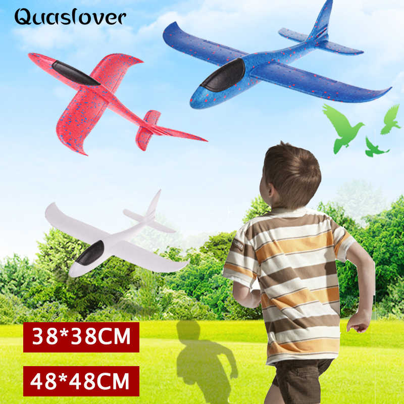 48*48cm Hand Throw DIY Flying Glider Planes Toys for Children Party Gift Foam Aeroplane Model Toys Flying Gliders Plane Toy Game