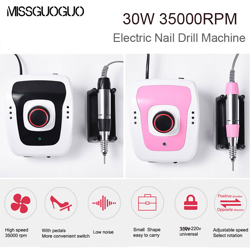 30W 35000 RPM Electric Nail Drill Machine Mill Cutter Sets with Pedal Professional Nail Art Equipment Manicure Apparatus