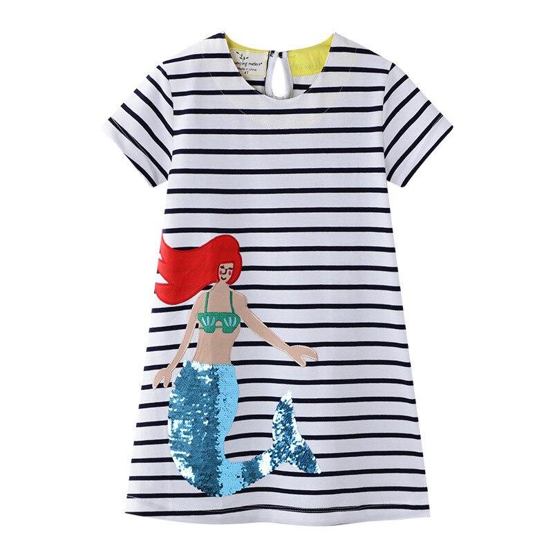 Jumping Meters 2020 Animals Girls Dresses Summer Children Cotton Dress Stripe Animals Tunic School Baby Girls Dresses
