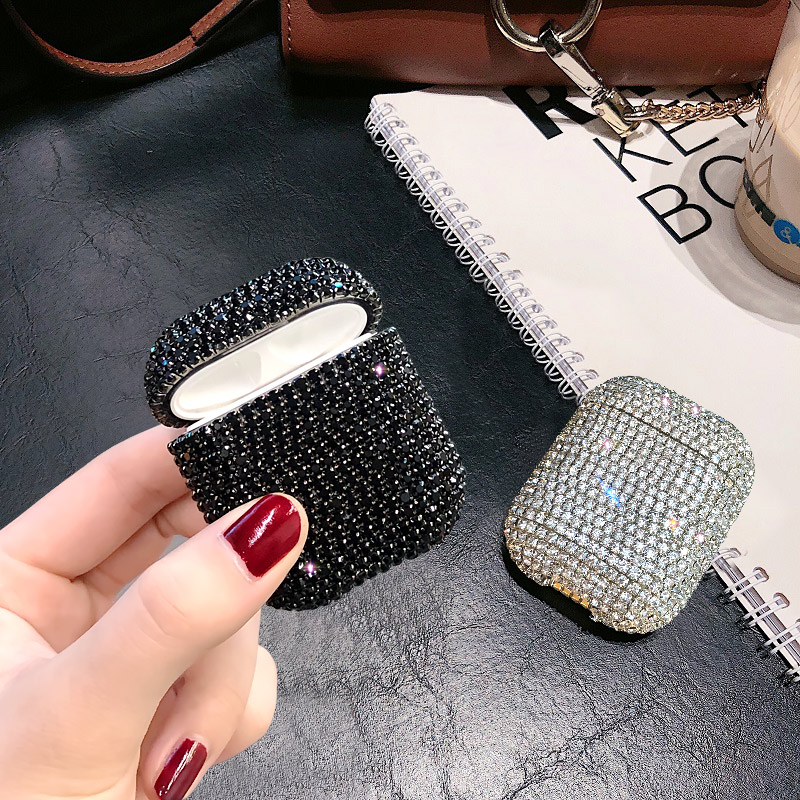 Купить с кэшбэком Diamond Rhinestone Cover For Apple Airpods 1/2 Case Accessories Earphone Glitter Protection Charging Case For AirPods Pro 3 Bags