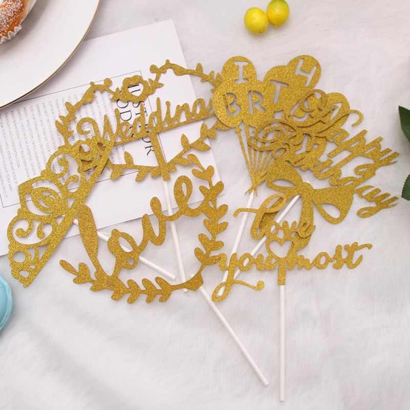 1 قطعة متعددة اللون كب كيك كعكة توبر سعيد عيد ميلاد كعكة أعلام للأسرة عيد ميلاد حزب الخبز لوازم الديكور