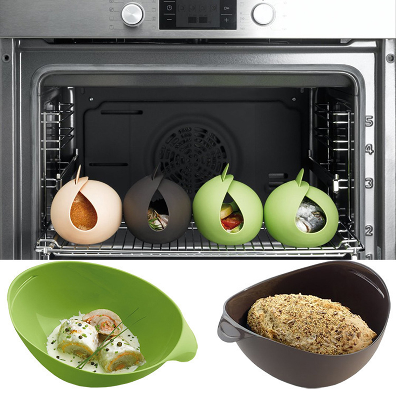 Silicone Steamer Microwave Steamer Oven Fish Kettle Poacher Cooker Food Vegetable Bowl Basket Kitchen Cooking Tools