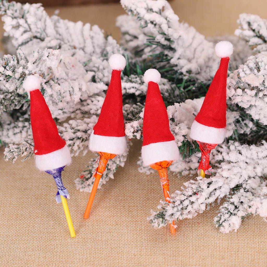 BT/_ BH/_ 10Pcs Mini Christmas Hat Lollipop Cap Cover Xmas Party Candy Table Festi