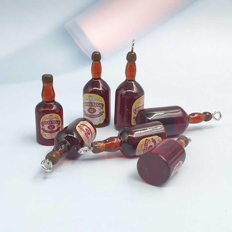 10pcs Mini stereoscopic wine bottle resin Pendants Earring Jewelry Accessories