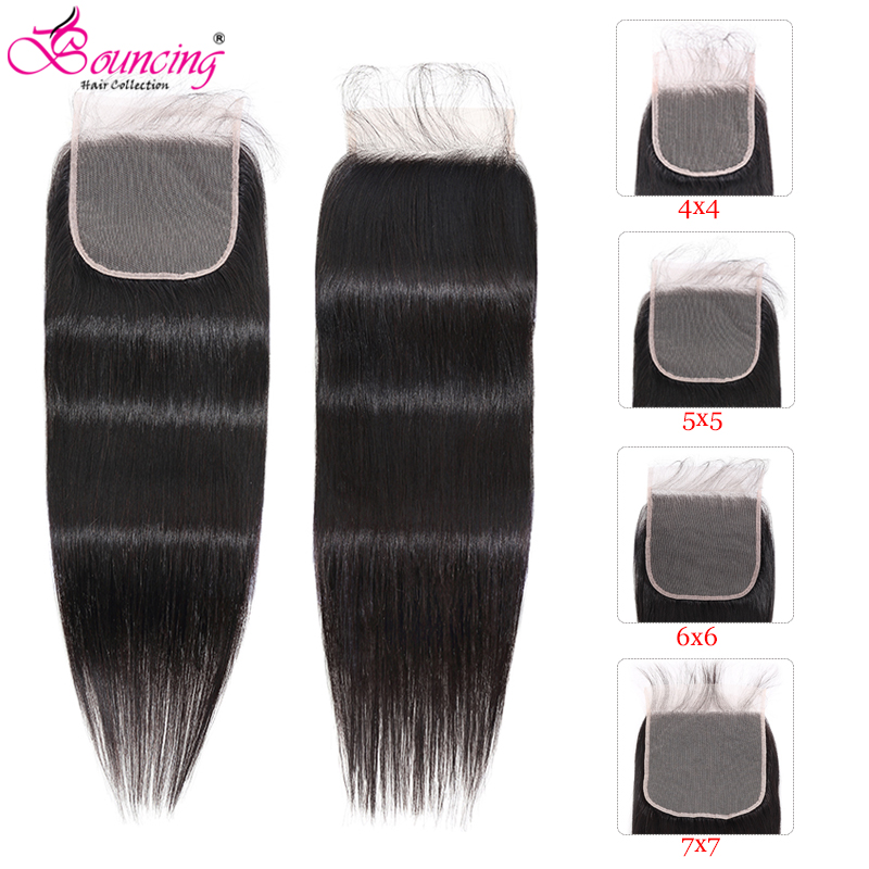 Bouncing Straight 7x7 Lace Closure With Baby Hairline 5x5 Closure 4x4 Closure Brazilian Remy Human Hair Extensions Lace Closure