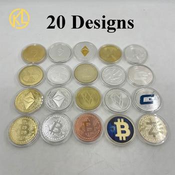 20pcs/lot Gold Silver Plated Coins Bitcoin/Ethereum/Litecoin/Dash/Ripple/Monero/EOS coin Metal Physical Commemorative Coin 1