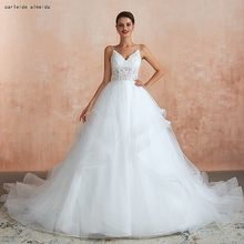 Soft Tulle Ball Gown Wedding Dress Spaghetti Straps Cheap Wedding Gowns 70CM Tail Luxury Bridal Dress(China)