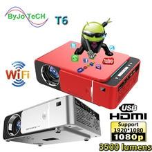 Unic t6 led completo hd 1080p projetor 3500 lumens beamer teatro em casa android wifi opcional proyector usb hdmi vga vídeo cinema