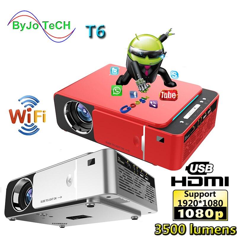 Unic novo t6 completo 1080 p projetor 3500 lumens beamer de cinema em casa suporte airplay dlna miracast android wifi opcional proyector