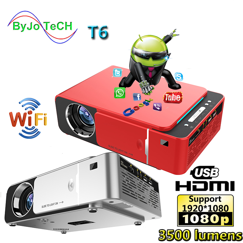 Unic novo t6 completo 1080 p projetor android wifi 3500 lumens suporte beamer airplay dlna miracast proyector