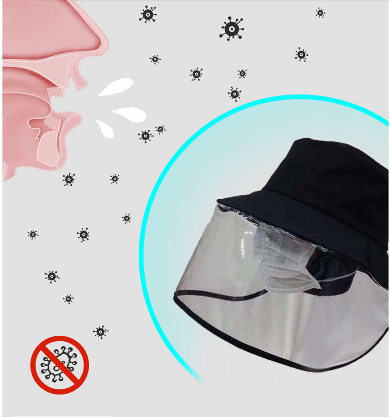 A171 Corona Virus Mask Hats Virus Protection Covers Mask Caps Anti-droplet Big Brim Face Covering Caps Adjust Size