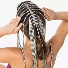 Accessori per la catena di capelli lunghi con nappine da sposa di vendita calda di moda adatti per la catena di capelli a più fili di cristallo da donna
