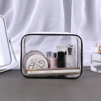Fashion Portable Cosmetic Bag New Transparent Waterproof PVC Zipper Makeup Travel Functional storage Organizer Toiletry Pouch rose diary new multi function transparent mesh beauty zipper travel cosmetic bag portable toile pouch pencil bag purse bag