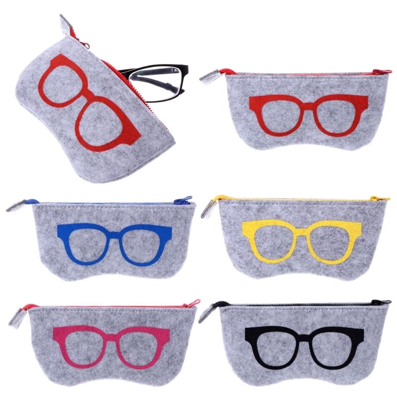 Unisex Zipper Eye Glasses Box Sunglasses Bag Pouch Case Storage Protector Bag Fashion Felt Glasses Case Eyewear Accessories