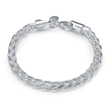 Creative twist circle , chain women men silver color bracelets new high -quality fashion jewelry Christmas gifts H070