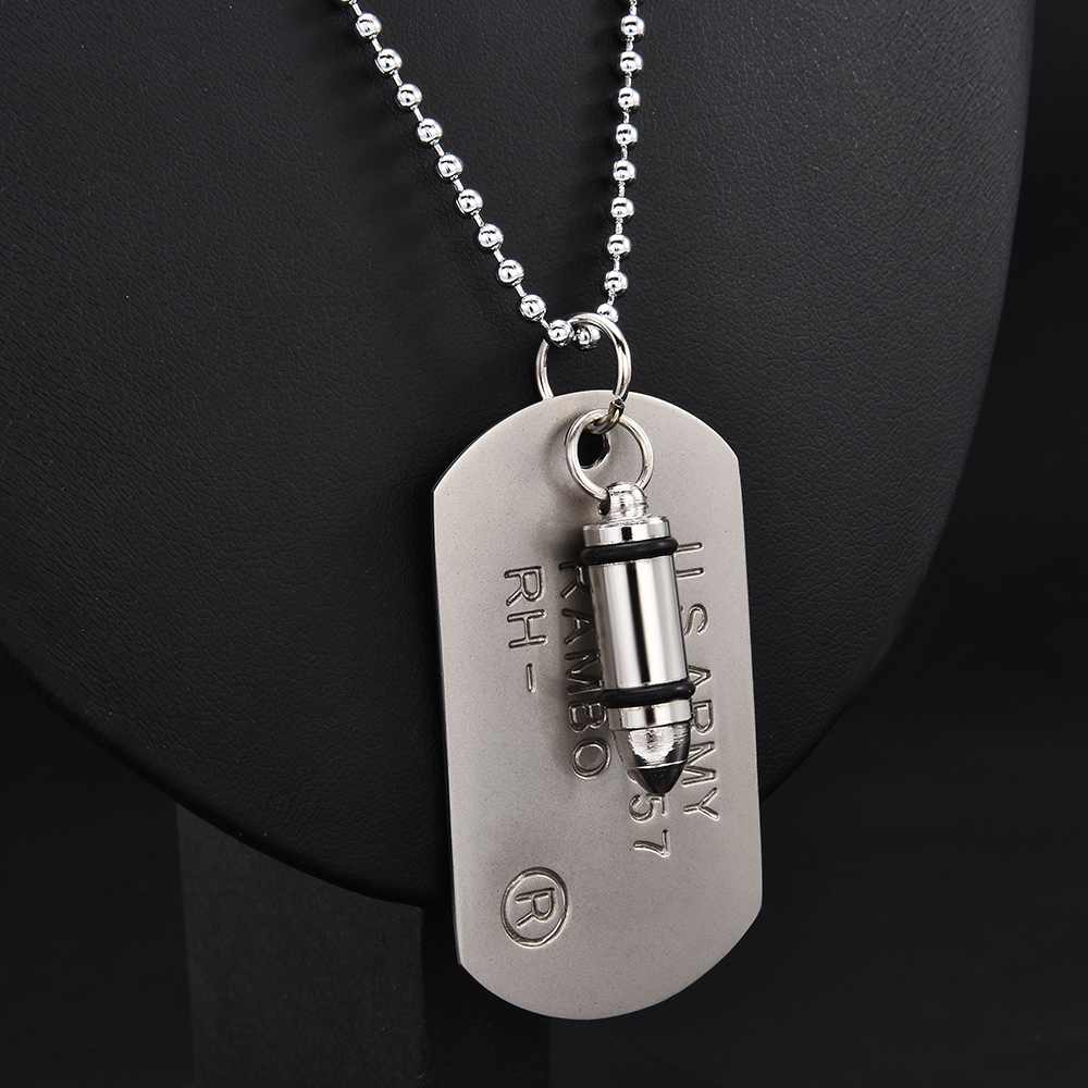 高品質ファッション男性軍陸軍弾丸チャーム犬タグ単一エンボス加工チェーンペンダントネックレスジュエリーギフト