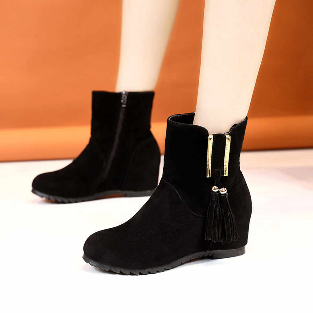 Casual Wedge botas mujer Otoño Invierno 2019 sólido cremallera señoras Biker tobillo moda botas invierno zapatos mujer bota femenina
