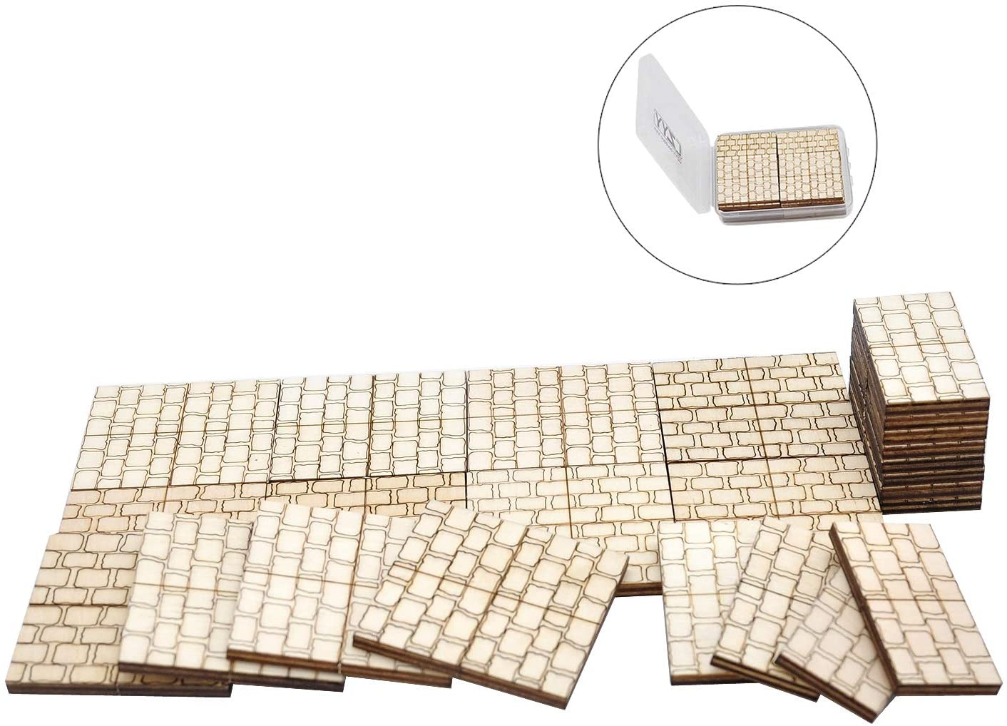 "Dungeon Stone Square Floor Tiles (Set Of 24) Wooden Laser Cut D&D Modular Terrain 1"" Grid"