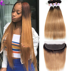 Ombre Blonde Bundles With Frontal 1B/27 Peruvian Straight Hair Bundles With Frontal Colored Human Hair Bundles With Lace Frontal