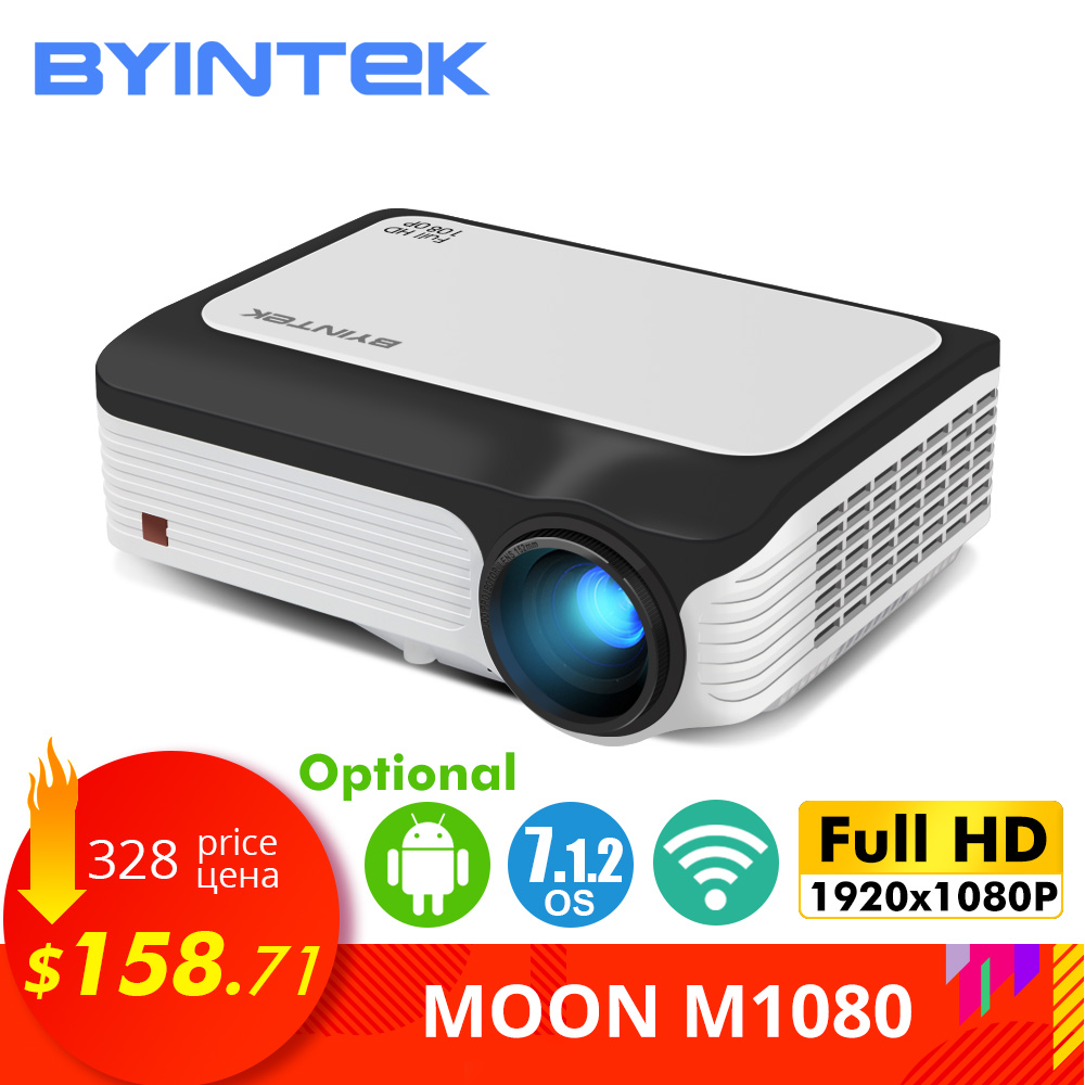 Projetor completo m1080 de byintek hd, 1920x1080 p, esperto (2 gb + 16 gb) android wifi beamer, mini projetor portátil do diodo emissor de luz para o cinema 3d 4 k