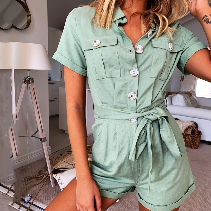Casual Cotton Linen Women Summer Romper Wide Leg Button Short Jumpsuits Lace Up Office Playsuits High Waist Green Rompers