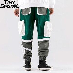 Image 4 - Calças de carga hip hip dos homens multi bolsos 2020 harajuku pant corredores baggy bloco cor retalhos sweatpant streetwear calças pista