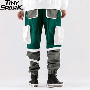 Image 4 - Men Hip Hip Cargo Pants Multi Pockets 2020 Harajuku Pant Joggers Baggy Color Block Patchwork Sweatpant Streetwear Track Trousers